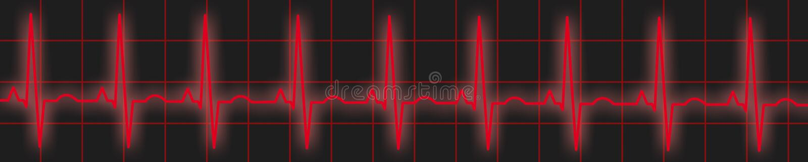 Red ECG Trace. Illustration of an ECG or EKG trace vector illustration