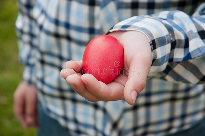 Red egg - Easter hunt royalty free stock photo
