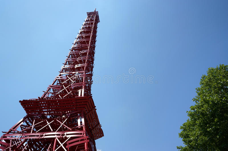 Download Fermob Bistro Chairs Red Eiffel Tower Stock Photo   Image Of  Furniture, Stacked: