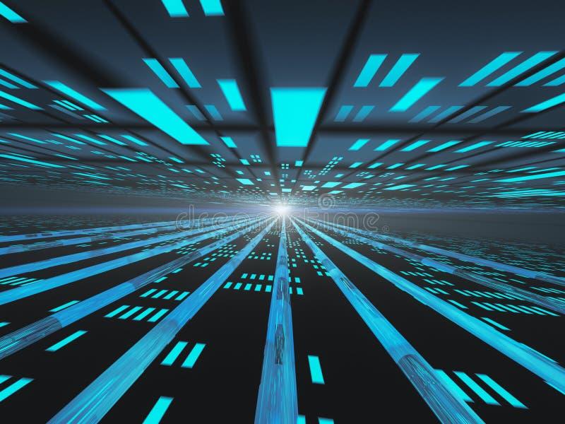 Red eléctrica oscura de Internet del horizonte ilustración del vector