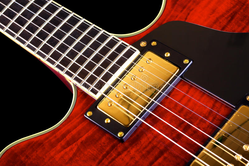 Red Electric Guitar royalty free stock photos