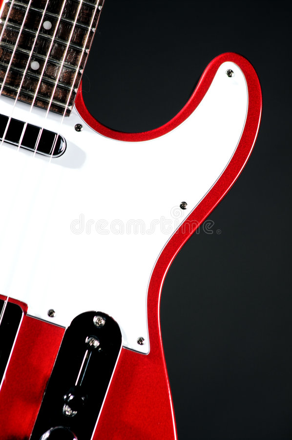 Red Electric Guitar On Black Stock Photos