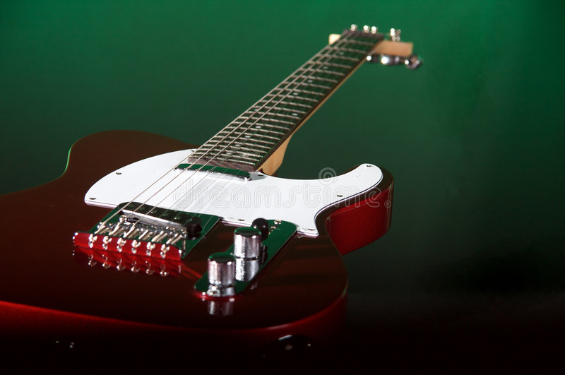Download Red Electric Guitar On Green Stock Photo - Image: 7364892