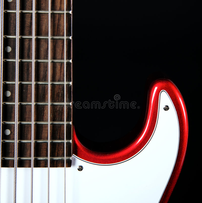 Download Red Electric Guitar Isolated On Black Royalty Free Stock Photography - Image: 7051527
