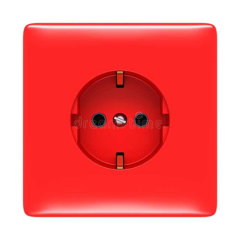 Red electric outlet isolated vector illustration