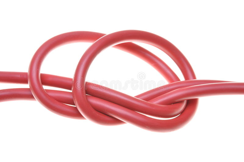 Red electrical cables. Isolated on white background royalty free stock photo