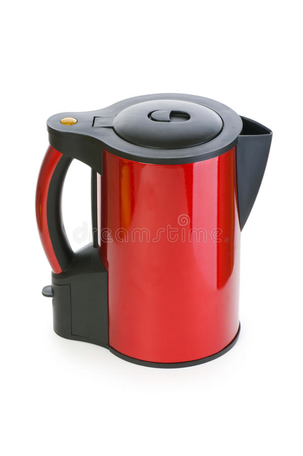 Red electrical kettle isolated. On white stock images