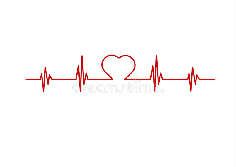 Red electrocardiogram stock illustration