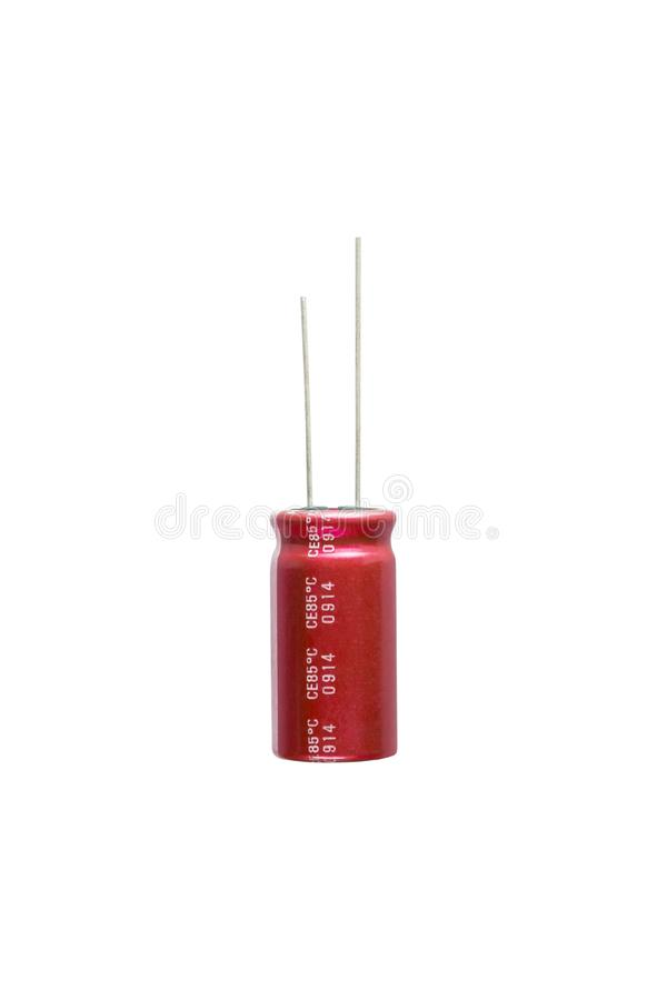 Red electrolytic capacitor Isolated on white background, Electronics part concept. stock images