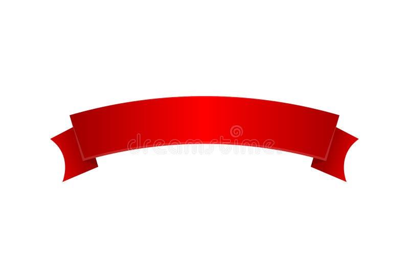 Red elegant satin ribbon isolated icon royalty free illustration