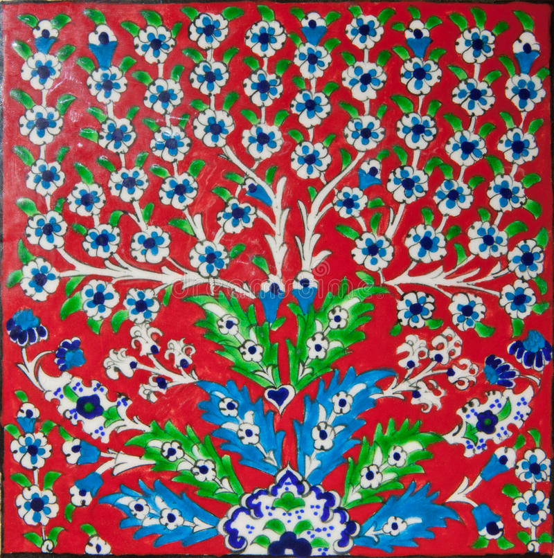 Traditional Turkish Ottoman Red Flower Home Decor Mosaic: Red Elegant Tile Stock Photo