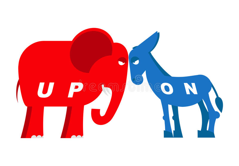 Red Elephant And Blue Donkey Symbols Of Political Parties In Ame