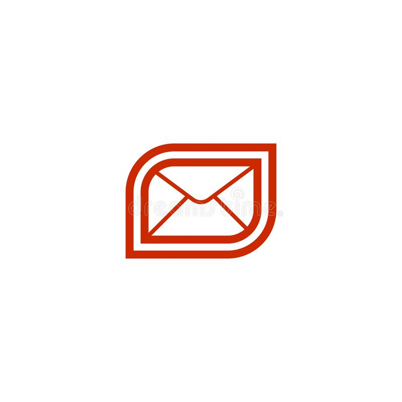 Red email mail icon. stock illustration