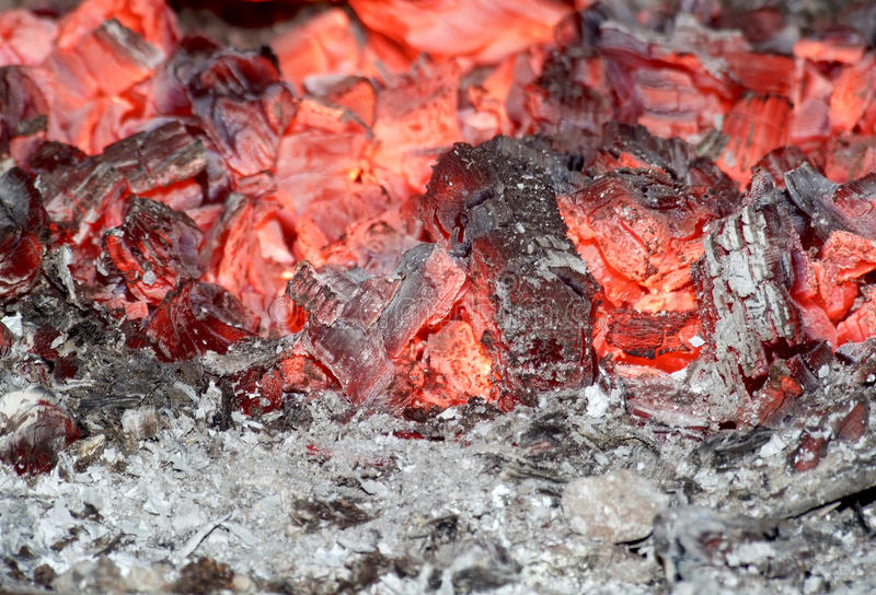 Red embers in stove