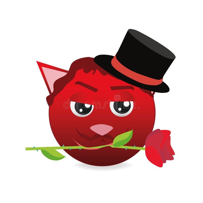 Red emoticon cat isolated on White Background. Emoji vector. Emoticon icon web. royalty free illustration