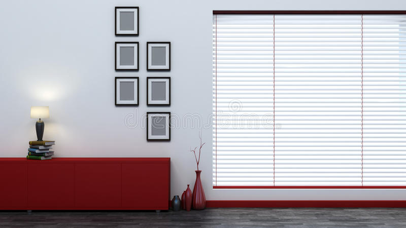 Red empty interior with blinds.  royalty free illustration