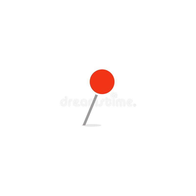 Red empty marker, closeup thumbtack, needle with round tip, web vector icon for business, isolated illustration on white stock illustration