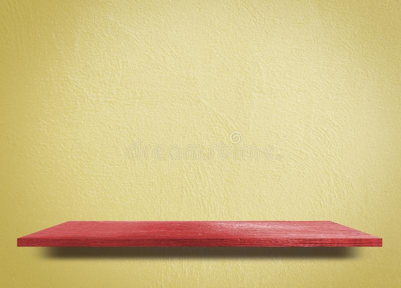 Red Empty counter with Yellow wooden background royalty free stock image