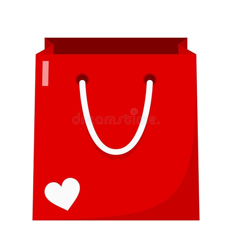 Red Empty Shopping Bag Flat Icon on White stock illustration