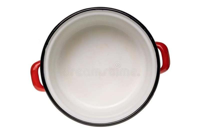 Red enamel cooking pot top view royalty free stock photos