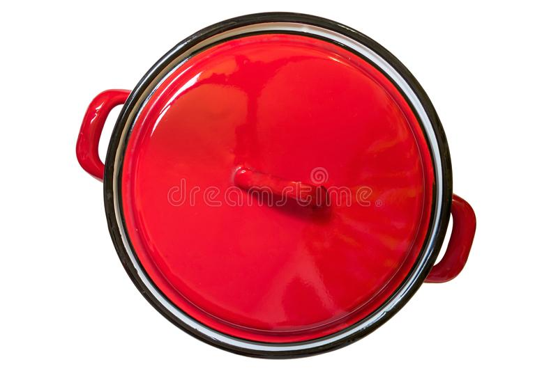 Red enamel cooking pot top view royalty free stock photography