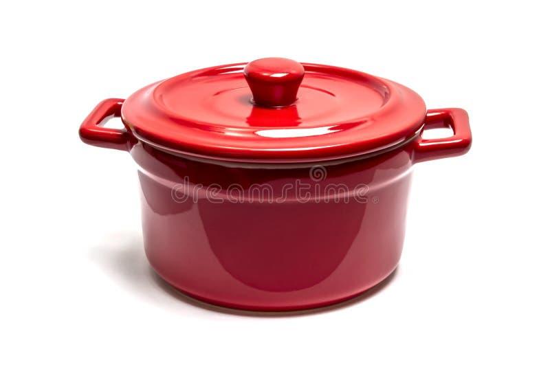 Red enamel pot royalty free stock photos