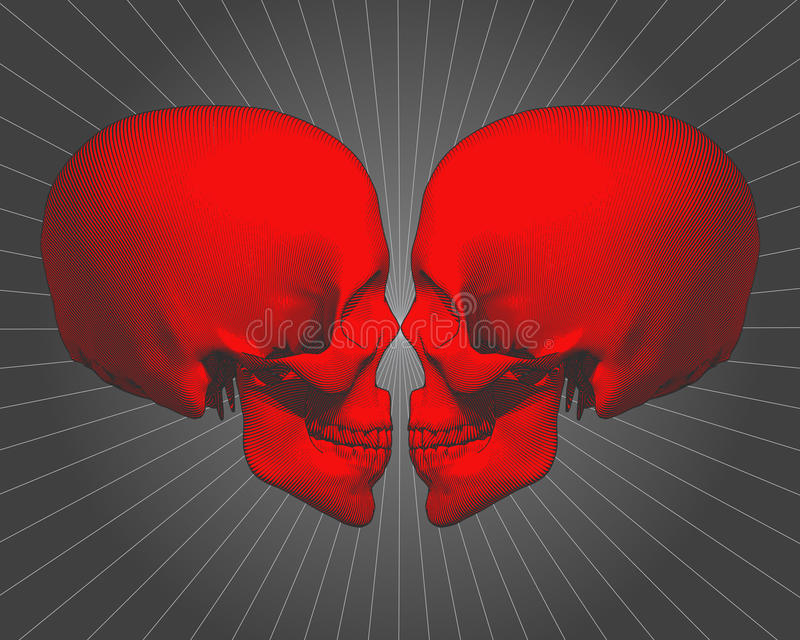 Red engraving skull in side view on gray BG royalty free illustration