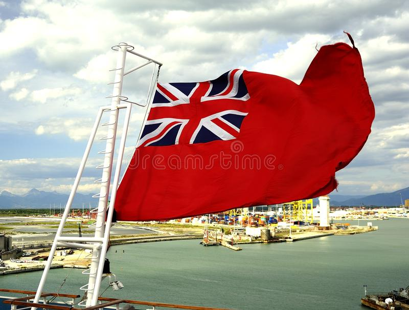 Red Ensign in the wind royalty free stock photography