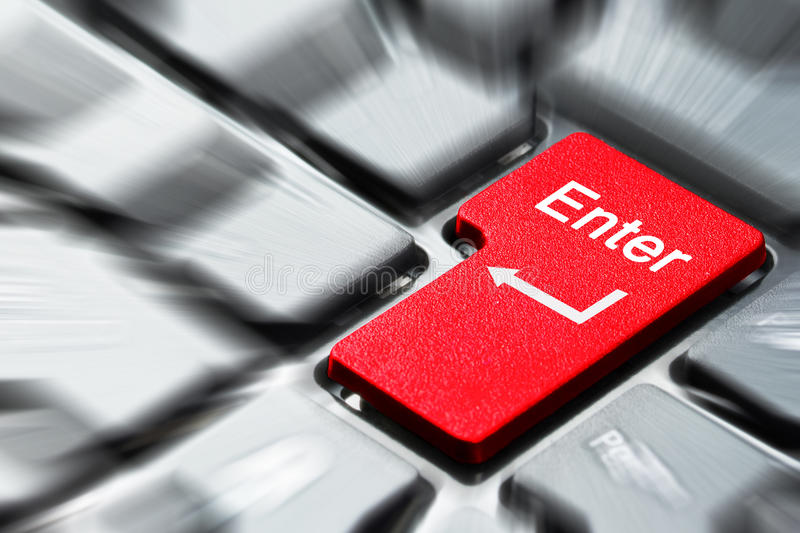 Red enter button. On the keyboard stock images