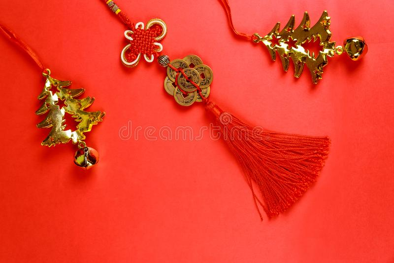 Red envelope with dollar for Chinese New Year bonus in red background,Happy Chinese new year concept royalty free stock images