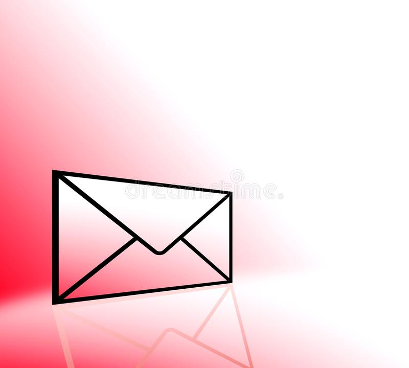 Red envelope email icon. An illustrated letter envelope on a graduated red background symbolizing an important email message stock illustration
