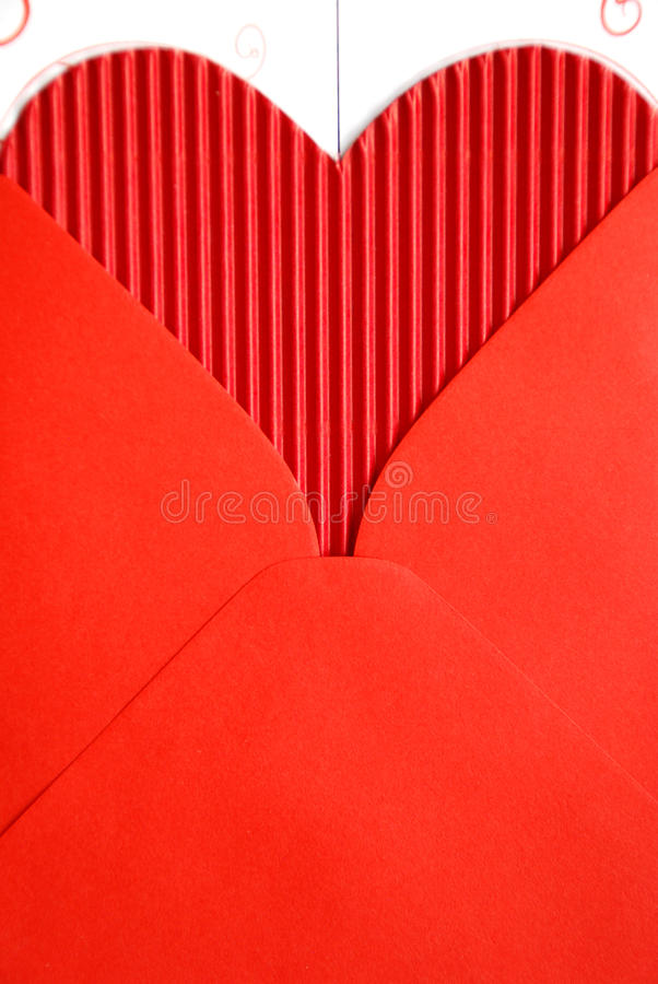 Red envelope with red paper heart