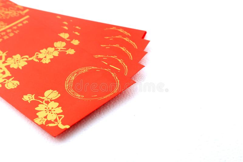 Red envelopes for Chinese new year celebration over white background. Used for putting in cash stock image