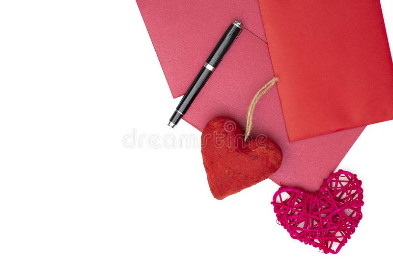 red envelopes and hearts background royalty free stock photos