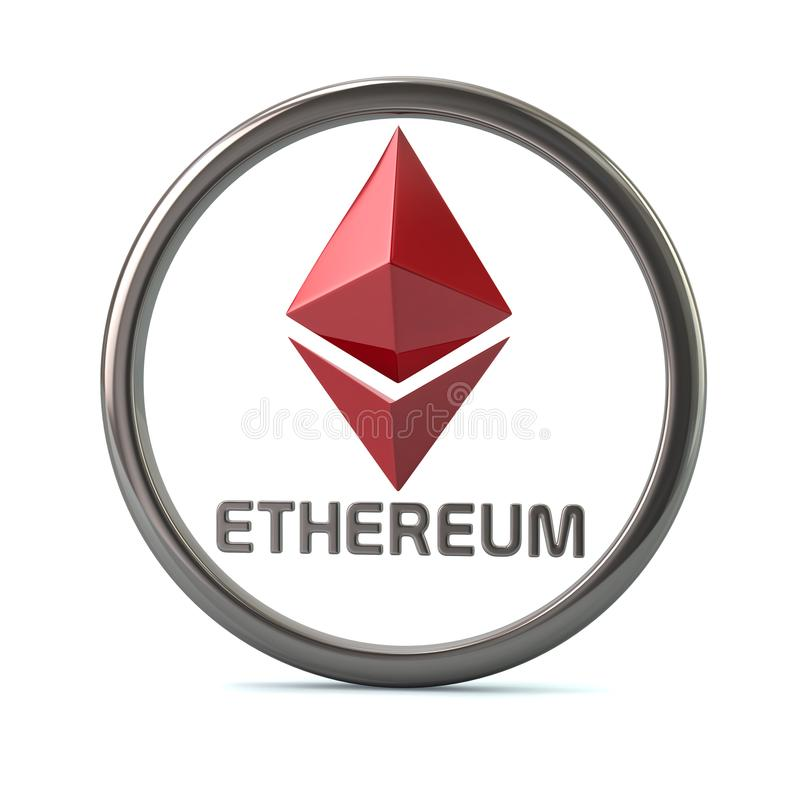 Red Ethereum virtual cripto currency icon royalty free illustration