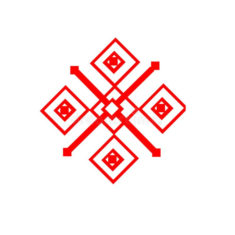 The ethnic element of the Slavic pattern on a white backgrou stock photo