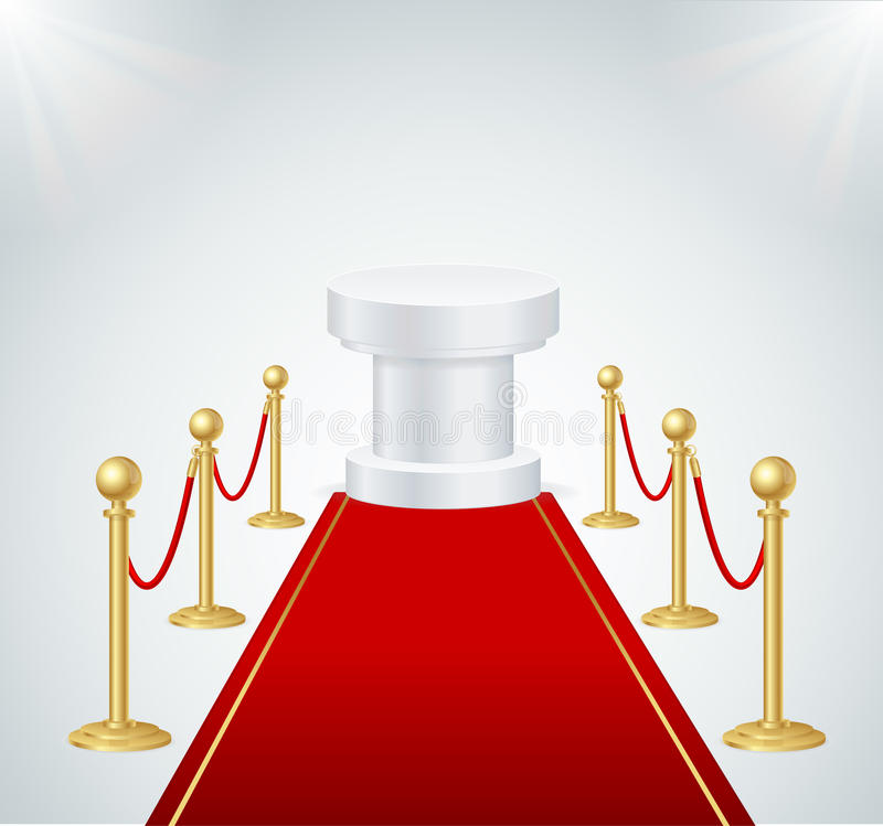 Red Event Carpet, Round Podium and Gold Rope Barrier. Vector. Red Event Carpet, Round Podium and Gold Rope Barrier Element of Important Ceremonies and Exposition stock illustration