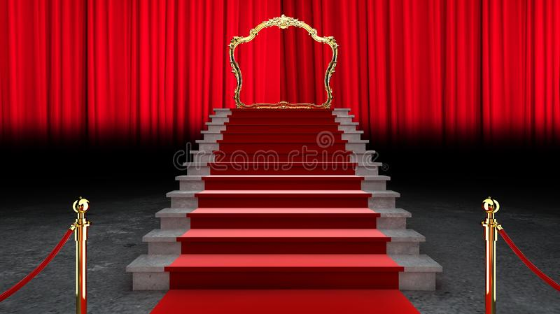 Red Event Carpet, Stair en Gold Rope Barrier Concept of Success and Triumph, 3d rendering vector illustratie
