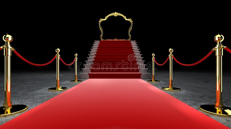 Red Event Carpet, Stair en Gold Rope Barrier Concept of Success and Triumph, 3d rendering stock illustratie
