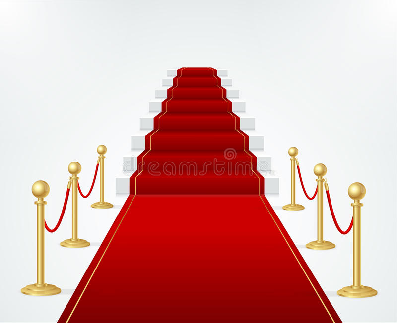Red Event Carpet, Stair and Gold Rope Barrier. Vector. Red Event Carpet, Stair and Gold Rope Barrier Concept of Success and Triumph. Vector illustration royalty free illustration
