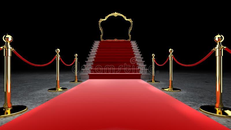 Red Event Teppich, Treppe und Gold Rope Barrier Konzept für Erfolg und Triumph, 3D Rendering stock abbildung