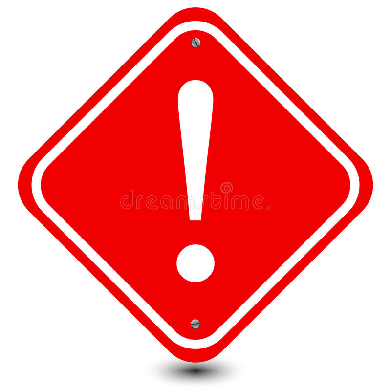 Free Red Exclamation Caution Sign Royalty Free Stock Images - 45232629