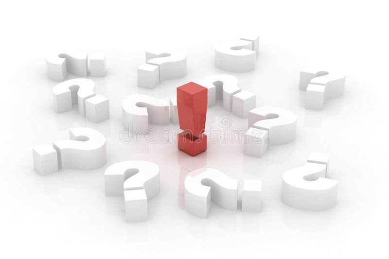 Red exclamation point over questions stock image