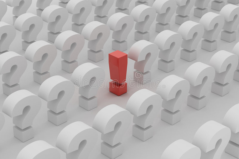 Red exclamation point over questions stock illustration