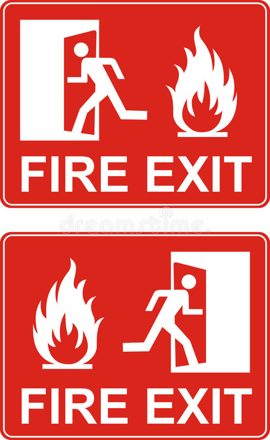 Red exit sign. Emergency fire exit door and exit door. Label wit royalty free illustration