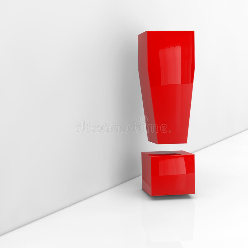 Red Exlamation Mark In 3D Royalty Free Stock Photography