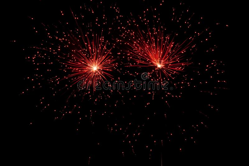 Fireworks over black sky royalty free stock images