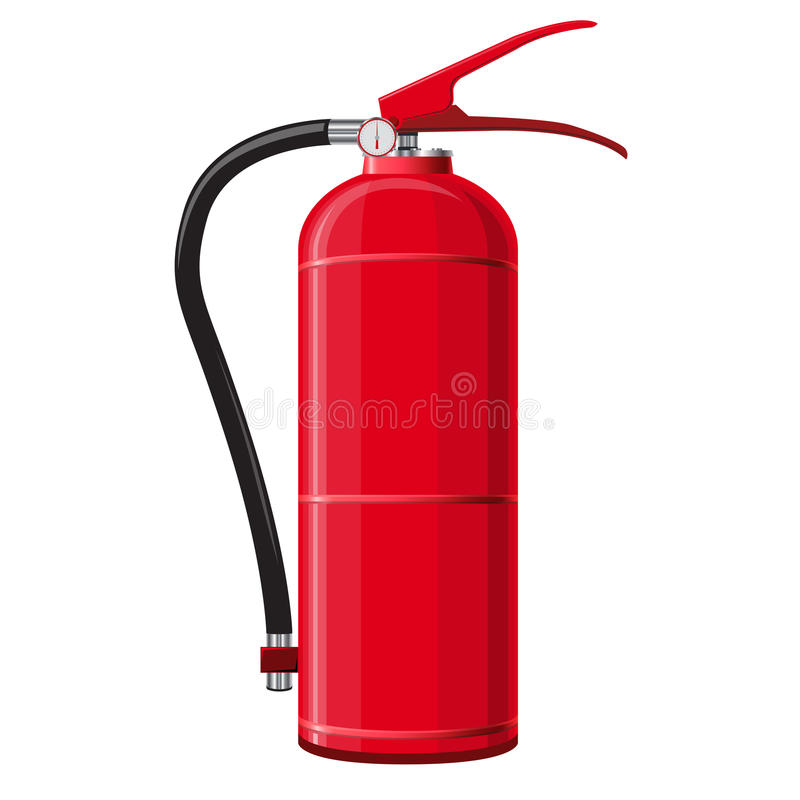 Red extinguisher with hose. Safety fire-fighting equipment. Firefighting equipment and fire protection. Master vector illustration, isolated on white royalty free illustration