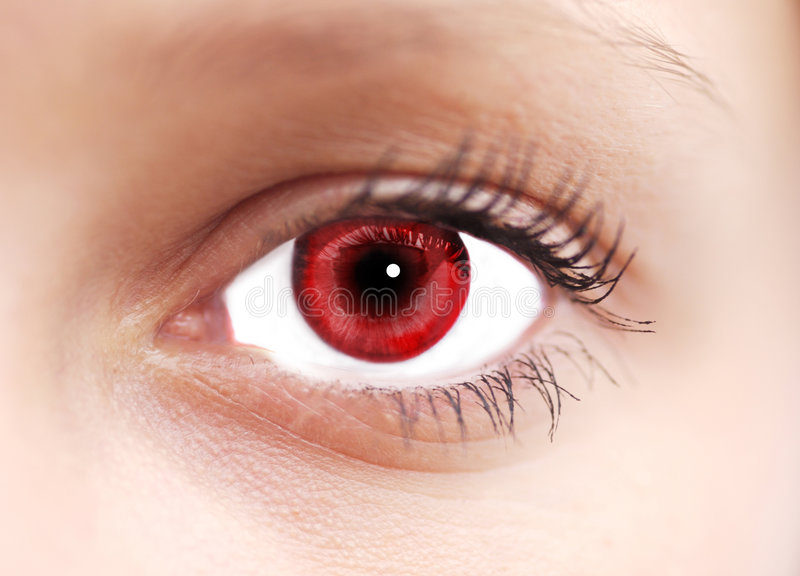 Red Eye. Close up of red coloured eye royalty free stock images