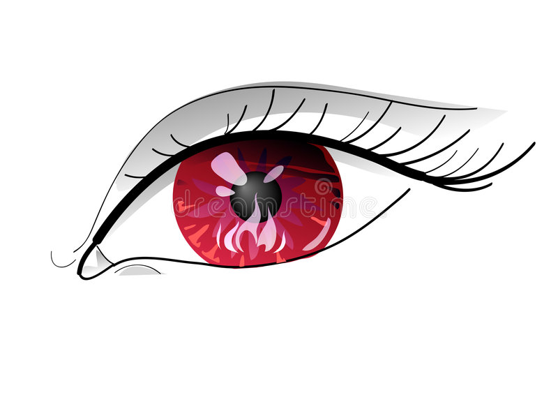 Evil Red eye with fire - Close-up stock illustration